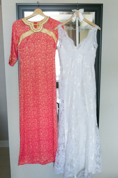 Vietnamese long dress and American wedding dress