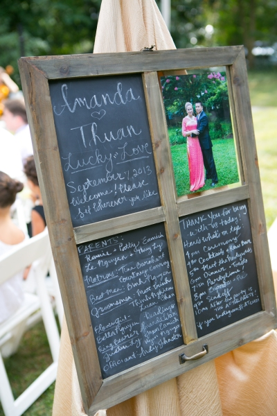 Chalkboard window frame used for wedding program