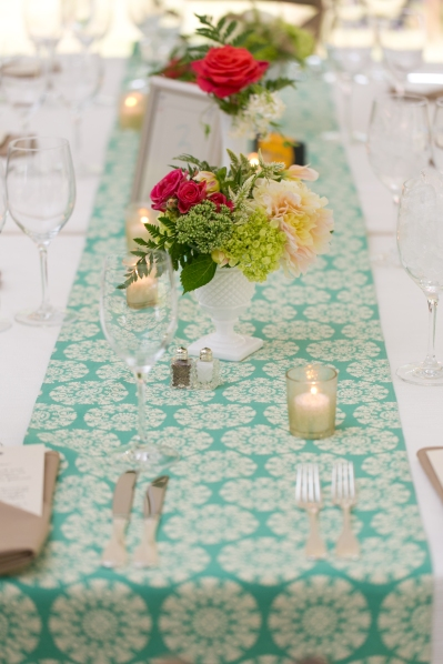Wedding table setting with teal table runner and flowers