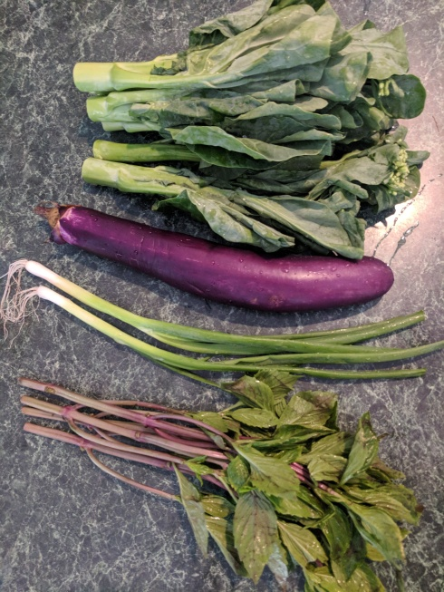 Chinese broccoli, scallions, Chinese eggplant, and Thai basil